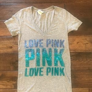 Victoria's Secret PINK Gray Teal Bling Top XS